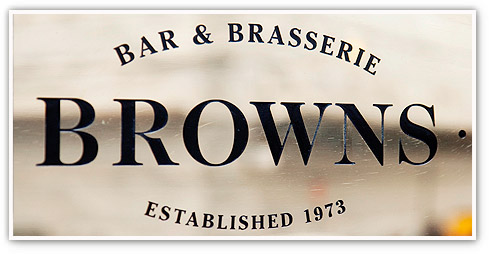 Browns Bar and Brasserie door plate with the words 'Established 1973'