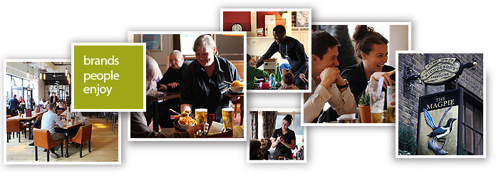 Montage of staff members delivering great service and guests relaxing in a variety of Mitchells & Butlers restaurants and pubs