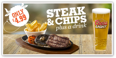 Steak, chips and drink for £4.99 at Sizzling Pubs!
